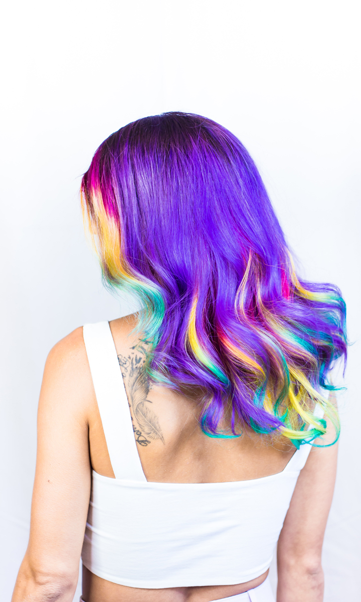 woman with long multicolored hair